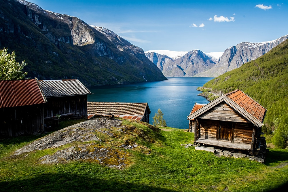 Cabin by a fjord
